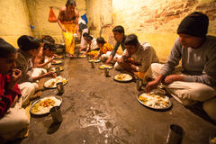 Children during dinner at Jagadguru School. Royalty Free Stock Image