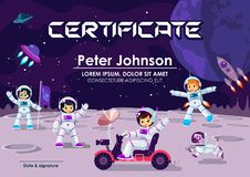 Children Diploma or Certificate Of Achievement & Appreciation Space Moon Theme Cool Vector Template. Children Astronaut in Space A. Children Diploma or Stock Image