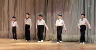 Children with disabilities are dancing on the stage dancing sailors Royalty Free Stock Photos
