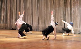 Children with disabilities are dancing on the stage dancing sailors Stock Photo