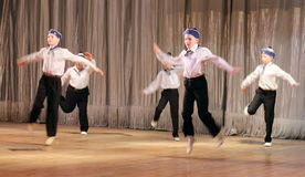 Children with disabilities are dancing on the stage dancing sailors Stock Images