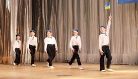 Children with disabilities are dancing on the stage dancing sailors Stock Photos