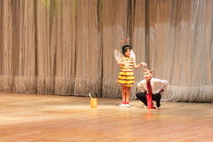 Children with disabilities dancing on stage Royalty Free Stock Photo