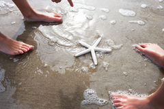 Children Discovering Starfish On Beach Stock Photos