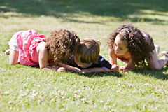 Children Discovering their Environment. Three small children looking in the grass at nature Royalty Free Stock Photo