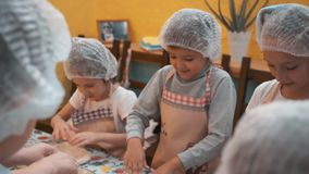 Children in disposable cap and apron making dough on cooking lesson in culinary school. Happy children preparing dough stock video footage