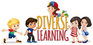 Children on diverse learning sign Stock Photography