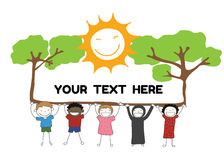 Children diversity holding label with tree sun smile for you. Children diversity holding label with tree and sun smile for your text vector Royalty Free Stock Images