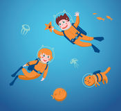 Children diving. Boy and girl are swimming with a scuba diving. Vector illustration royalty free illustration