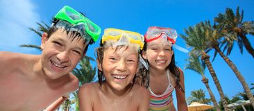Children with diving masks Stock Photo