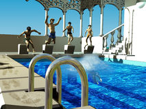 Children diving into the swimming pool Royalty Free Stock Photos