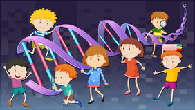 Children with DNA diagram Stock Image