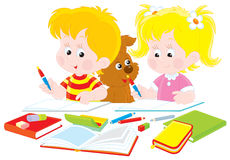 Children do homework. Schoolboy and schoolgirl sitting at a table and doing their homework Stock Image