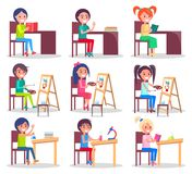 Children Do Homework  Illustrations Set. Children prepare homework, paint pictures on easels, do chemical experiments with liquids in flasks  vector Stock Images