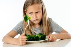 Children do not like to eat vegetables in healthy eating concept royalty free stock images