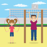 Children do sport near school. Stock Photo