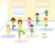 Children do yoga with a yoga instructor in studio. Isolated on white background. Vector illusrtation Royalty Free Stock Image