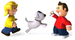 Children and dog Stock Image