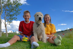 Children with dog Royalty Free Stock Photography