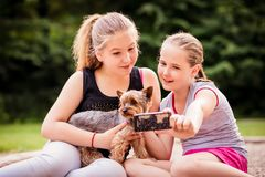 Children and dog Royalty Free Stock Photography
