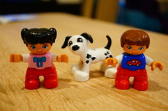 Children and dog figures Stock Photo