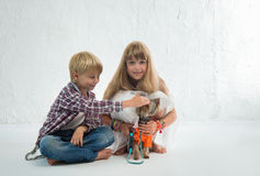 Children with dog Royalty Free Stock Images