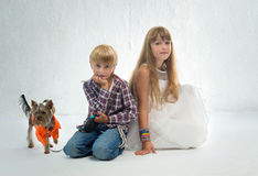 Children with dog Royalty Free Stock Photo
