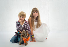 Children with dog Royalty Free Stock Photos