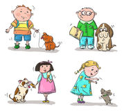 Children with dogs Stock Image