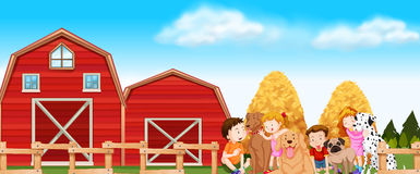 Children and dogs in the farm Stock Photo
