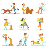 Children And Dogs Illustrations Set With Kids Playing And Taking Care Of Pet Animals. Happy Boys And Girls Cartoon Characters With Domesticated Animals Royalty Free Stock Photography