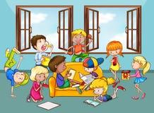 Children doing activities in the living room Stock Photos