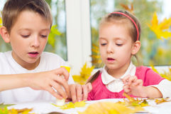 Children doing arts and crafts stock images