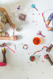 Children doing bead work Royalty Free Stock Photography