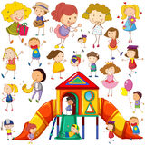 Children doing different actions and playhouse Stock Image