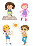 Children doing different activities Stock Photos