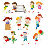 Children doing different activities Royalty Free Stock Images