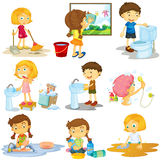 Children doing different chores Stock Photo