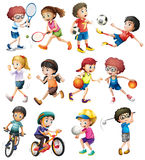 Children Doing Different Sports Stock Photography