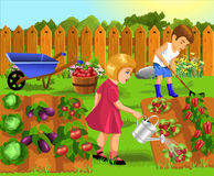 Children doing gardening work. Vector illustration of children doing gardening work Royalty Free Stock Photo