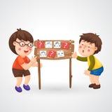 Children doing homework. Illustration of isolated children doing homework Stock Photo