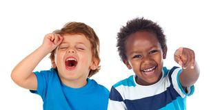 Children doing joke and laughing royalty free stock photos
