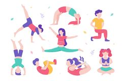 Children doing physical exercises set of various poses and cute cartoon characters of kids on white background vector illustration