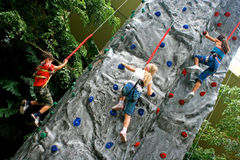 Children doing rockclimbing