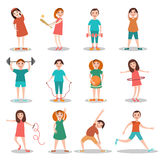Children doing sports vector flat illustration. Children doing sports vector illustration. Kids exercising, playing games flat style design cartoon characters Royalty Free Stock Photo