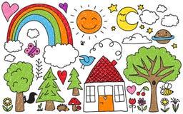 Children doodle Zdjęcia Stock