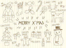 Children doodle drawing of Christmas holiday celebration object Stock Image