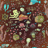 Children doodle Fish sea pattern. Seamless Children background with cute fish in cartoon style Royalty Free Stock Images