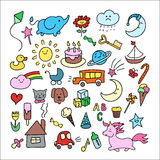 Children doodle. Set of hand-drawn doodle elements in children style: animals, nature, objects, sweets Stock Photography
