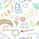 Children doodle sketch seamless pattern vector Stock Photos